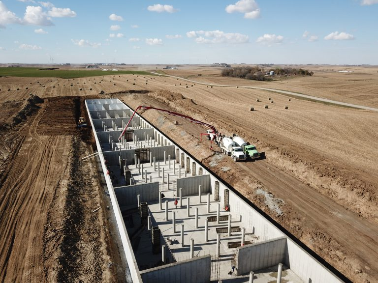 overhead shot of cattle confinement facility
